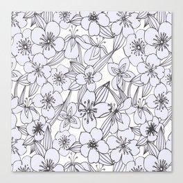 Hand drawn modern black white botanical floral pattern Canvas Print