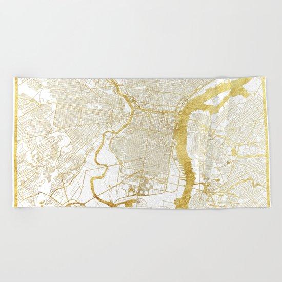 Philadelphia Map Gold Beach Towel