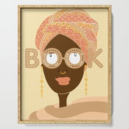 Head wrapped and Book Smart Serving Tray