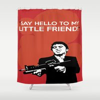 scarface Shower Curtains featuring Scarface Say Hello to My Little Friend by Florian Rodarte