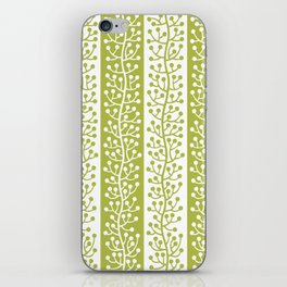 Mid Century Modern Berry Vine Stripes Chartreuse iPhone Skin