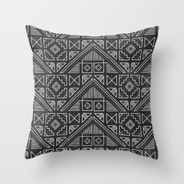 Stamped Geometric - Coal Throw Pillow