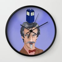 dr who Wall Clocks featuring Dr Who  by Kervin