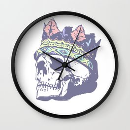 Pastel Classic Style Skull with Crown Wall Clock