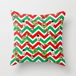 Festive Christmas Cartoons on Chevron Pattern Throw Pillow