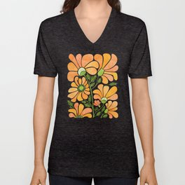Happy California Poppies / hand drawn flowers Unisex V-Neck
