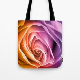 Rainbow Rose Macro Tote Bag