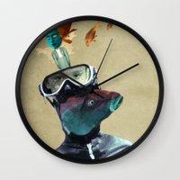 submarine Wall Clocks featuring SUBMARINE by Momenti Riciclati