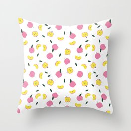 Pink Apples Pattern Throw Pillow