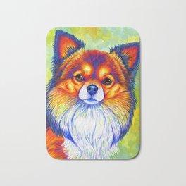 Colorful Long Haired Chihuahua Dog Bath Mat