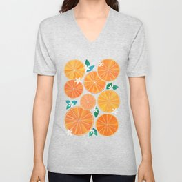 Orange Slices With Blossoms Unisex V-Neck