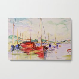 red boats in a little habour-watercolor Metal Print