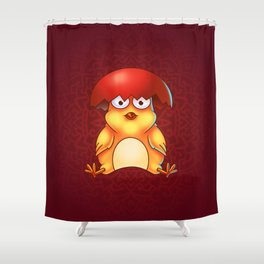 Easter Chicken with Egg Shell on its Head - Digital Painting Shower Curtain