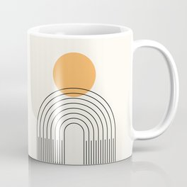 Geometric Lines in Black and Beige 25 (Rainbow and Sun Abstraction) Coffee Mug