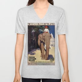 A Winter Tour Vintage Travel Poster Unisex V-Neck