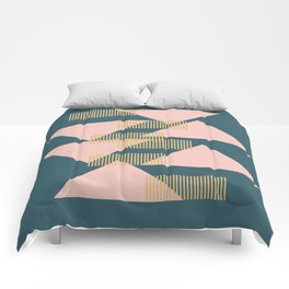 Modern Lines and Triangles Design in Blush, Teal, and gold Comforters