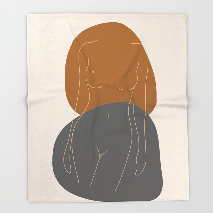 Line Female Figure 81 Throw Blanket