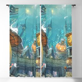 Cute Hentai Witch Girl In Halloween Town With Pumpkin Head Houses Ultra HD Blackout Curtain