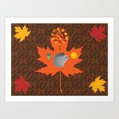 Grey Squirrel Autumn Pattern Art Print