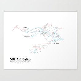 Ski Arlberg - St. Christoph and St. Anton - Labeled - Tirol, Austria - Minimalist Winter Trail Art Art Print
