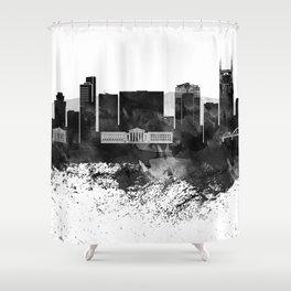 Nashville Black White Drops Skyline Shower Curtain