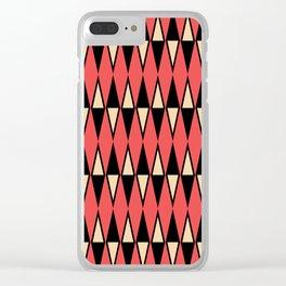 Mid Century Modern Diamond Pattern Red Black cream 231 Clear iPhone Case