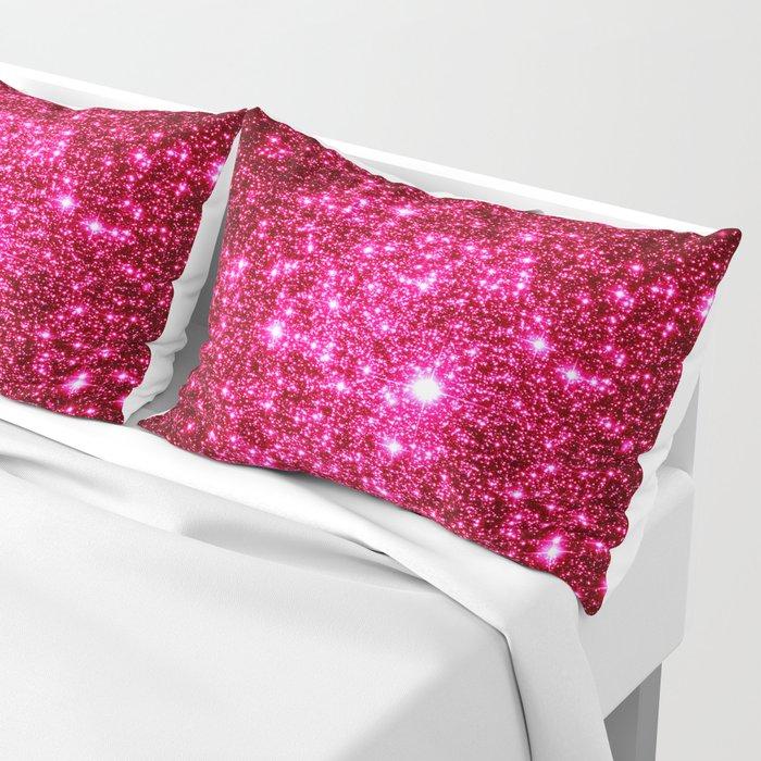 Hot Pink Glitter Galaxy Stars Pillow Sham