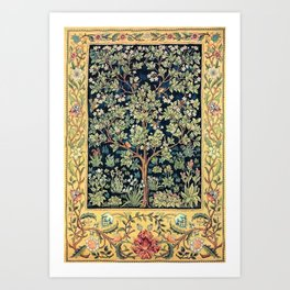 William Morris Northern Garden with Daffodils, Dogwood, & Calla Lily Floral Textile Print Art Print