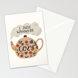 'I Just Wanna Be Cozy' Floral Teapot Stationery Cards