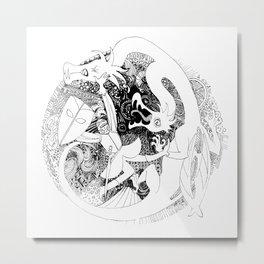 Dragons Hunter (round) Metal Print