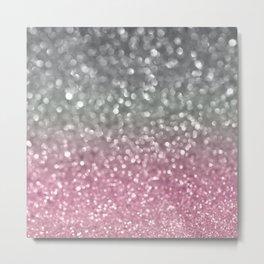 Gray and Light Pink Metal Print