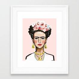 Face on Soft Pink Framed Art Print
