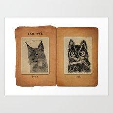Cat vs. Owl Ear Tufts Art Print