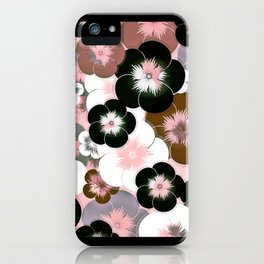 Abstract mauve pink brown black floral iPhone Case