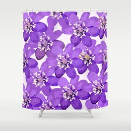 Purple wildflowers on a white background - spring atmosphere Shower Curtain