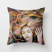 hat Throw Pillows featuring hat by Eva Lesko