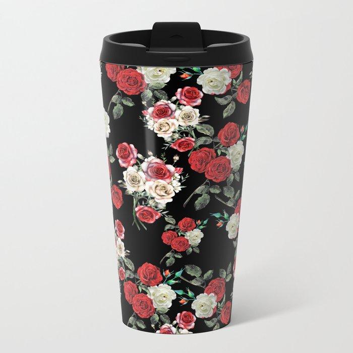 Seamless Floral Pattern Metal Travel Mug