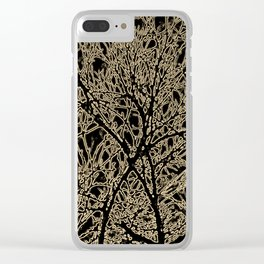 Tangled Tree Branches in Black and Sepia Clear iPhone Case