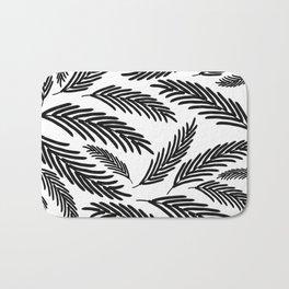 Palms Leaves on White Bath Mat