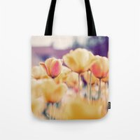 tulips Tote Bags featuring Tulips by elle moss