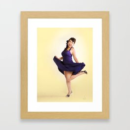 """Flirt Skirt"" - The Playful Pinup - Cheesecake Pinup Smile in Purple Dress by Maxwell H. Johnson Framed Art Print"