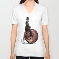 ariana grande V-neck T-shirts featuring Penny Farthing  by Eric Fan