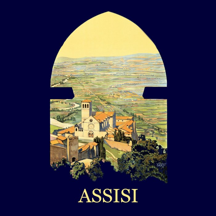 Vintage Litho Travel ad Assisi Italy Comforters