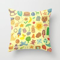 be happy Throw Pillows featuring Happy by Vladimir Stankovic