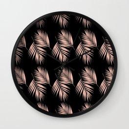 Palm Leaves Pattern #3 #DustyPink #Black #decor #art #society6 Wall Clock