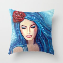 Blue Marmade Throw Pillow
