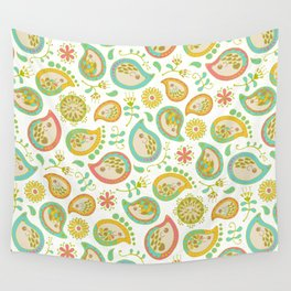 Hedgehog Paisley_Green outline Wall Tapestry