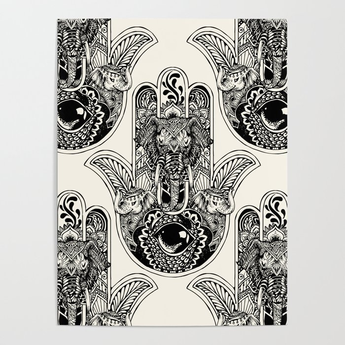 hamsa hand elephant poster by huebucket society6