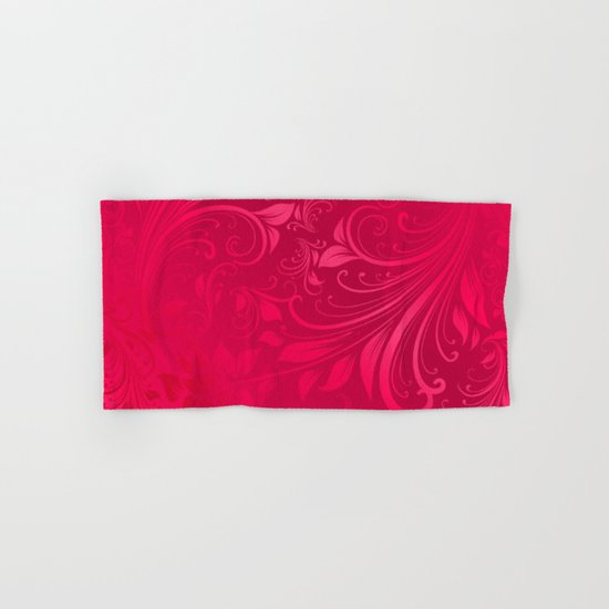 Pink swirls leaves Hand & Bath Towel
