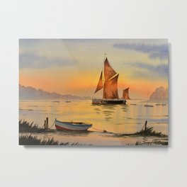 Thames Barge At Sunset Metal Print